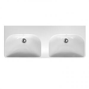 Двойна мивка за баня с две корита без отвор за батерия TRAFFIC